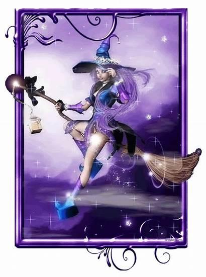 Witch Purple Glitter Halloween Gifs Fantasie Happy