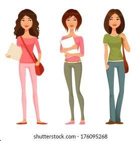 teenage girl cartoon images stock  vectors