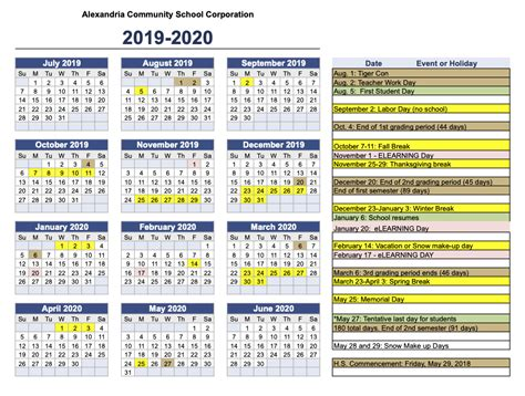 school calendar alexandria community school corporation