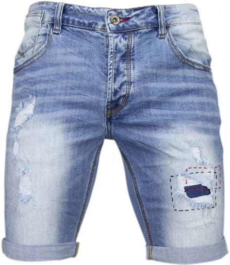 enos korte broeken heren slim fit denim summer vibe blauw style italy