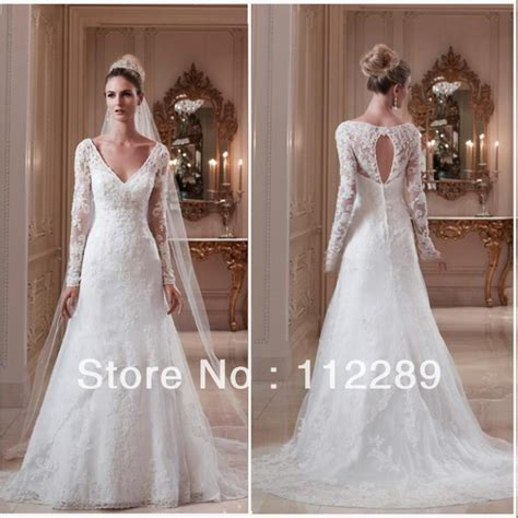 2014 Best Sale White Long Sleeve Lace Wedding Dress With
