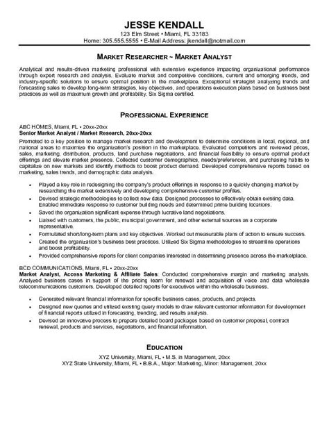 It Business Analyst Resume Sles With Objective by Marketing Analyst Resume Objective Sles Resumes Design