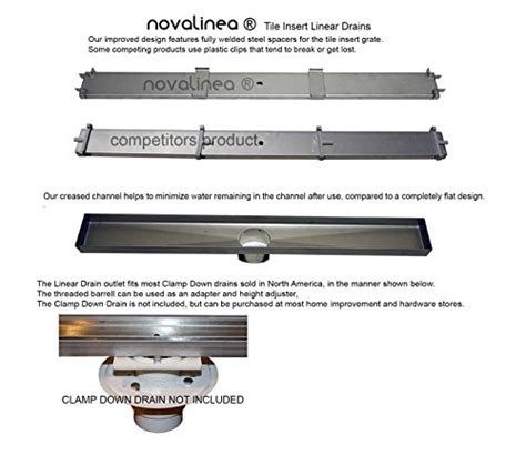 drain cost per linear foot novalinea 40 quot linear shower drain with tile insert grate ver 2 0 includes hair strainer and