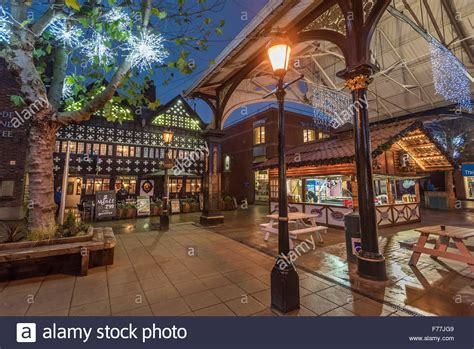 warrington town centre decorated with christmas lights and
