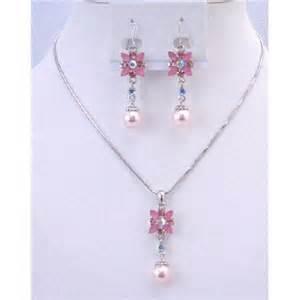 cheap bridesmaid jewelry cheap bridesmaid jewelry set pink pearl rhinestone wedding necklace set flower necklace set w