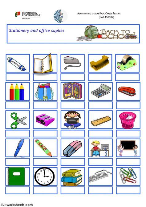stationery  school suplies interactive worksheet
