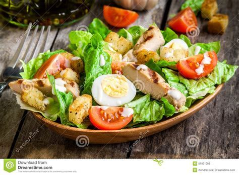 Caesar Salad With Croutons, Quail Eggs, Cherry Tomatoes