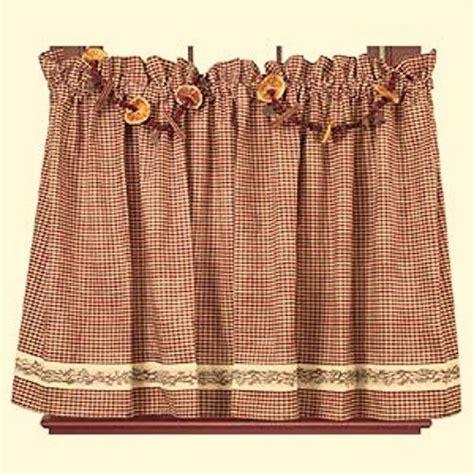 primitive country kitchen curtains primitive country farmhouse berry vine burgundy check 4414
