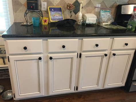 light pewter cabinets  black glaze pin stripes