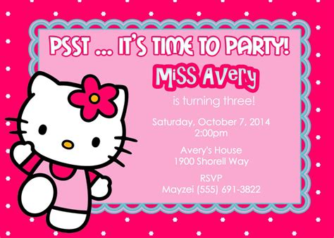Template For Birthday Invitation Hello Kitty Places to
