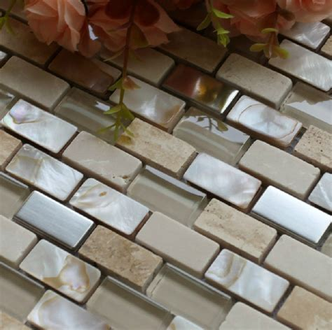 glass shell mosaic kitchen backsplash tile glass wall