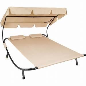 Chaise Longue 2 Places : chaise longue transat pare soleil 2 places beige 2 coussins 401223 ~ Teatrodelosmanantiales.com Idées de Décoration