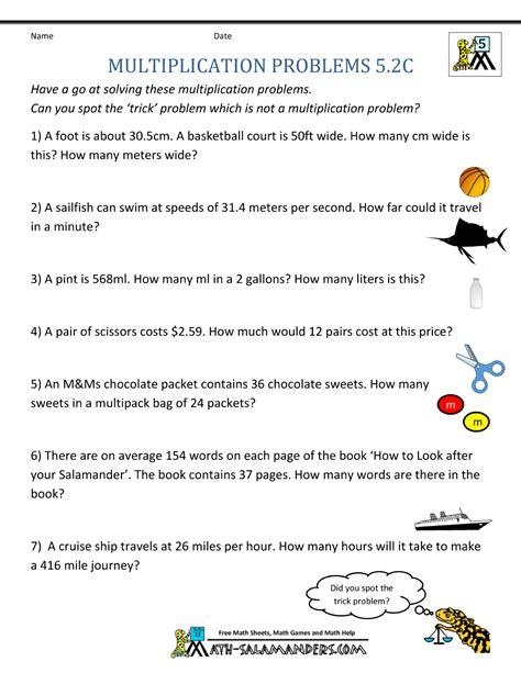 multiplication problems printable  grade