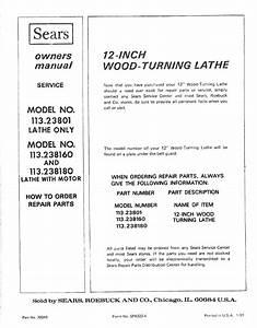 Craftsman 11323801 User Manual 12 Inch Wood Turning Lathe