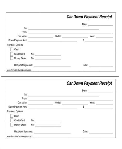 down payment receipt form 7 sle payment receipt forms sle templates