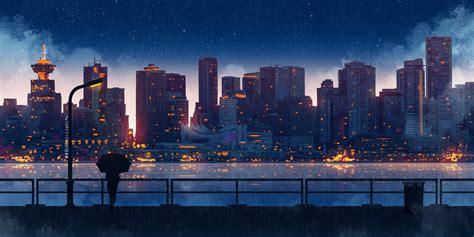 anime city lights night rain umbrella sky  hd artist