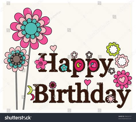 happy birthday floral designs card stock vector