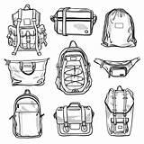 Vector Fanny Pack Bags Bag Clip Backpack Messenger Sketches Illustrations Backpacks Drawstring Bum Cross Illustration Leather Similar Satchel Case sketch template