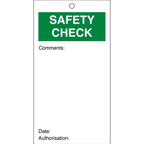 safety check quality tags 80mm x 150mm pack of 10 from key signs uk