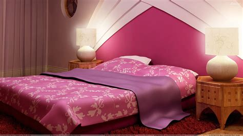 background bedroom pink background and pink bed in bedroom wallpaper