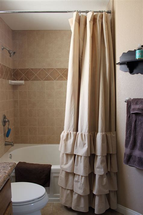 tan  ruffle shower curtain  selahjameshandmade