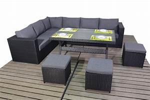 Prestige Black Rattan Corner sofa with dining table ...