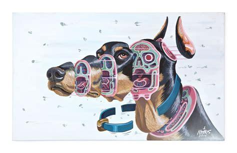 austrian artist nychos dissects  doberman dog