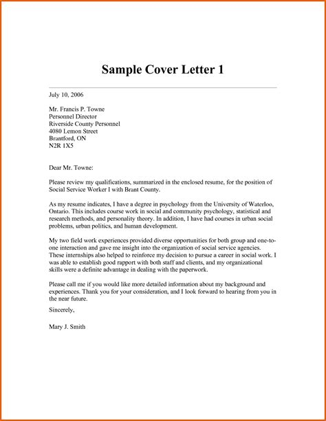 Sample Cover Letter For Social Worker Position Guamreview Com Work