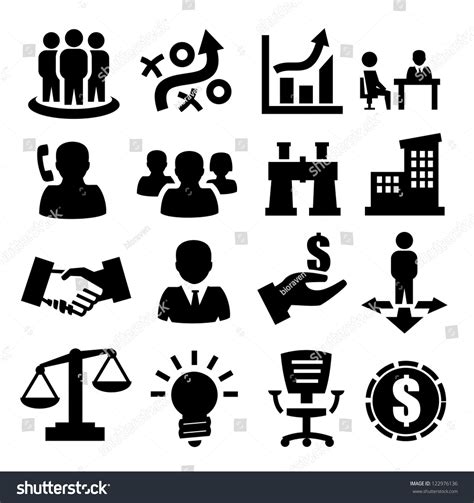 14701 business icon vector vector black business icons set on stock vector 122976136