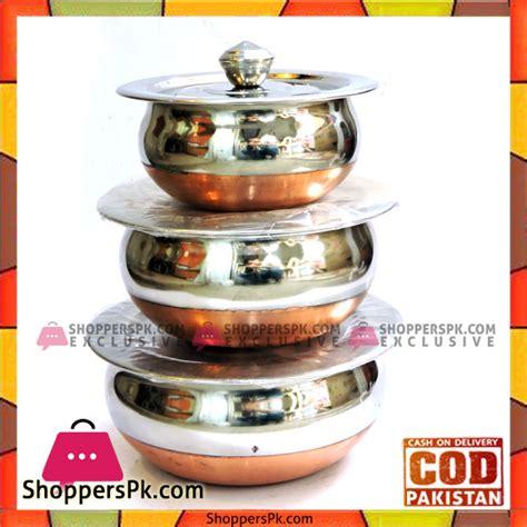 buy stainless steel copper base indian handi  pcs set   price  pakistan