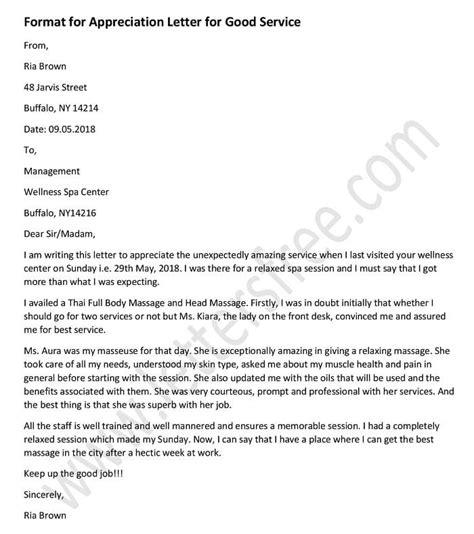 appreciation letter  good service sample