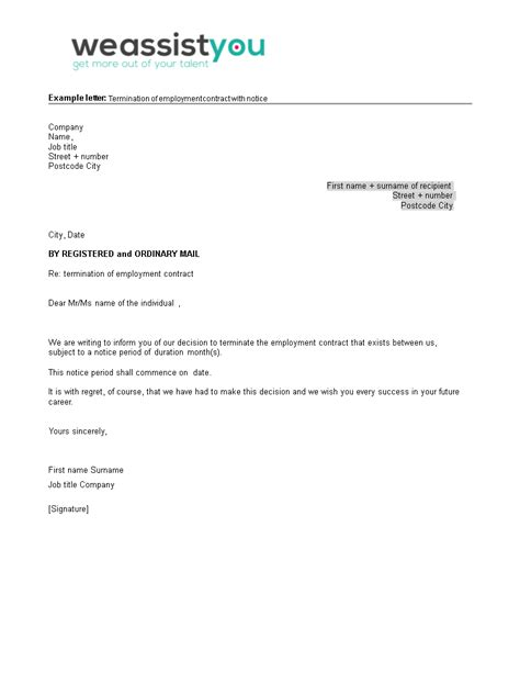 Employment Contract Termination Letter with Notice | Templates at allbusinesstemplates.com