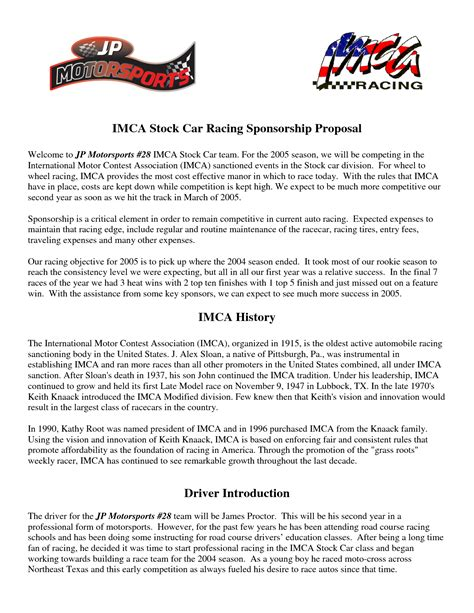 Motorsports Sponsorship Template by Free Racing Sponsorship Template