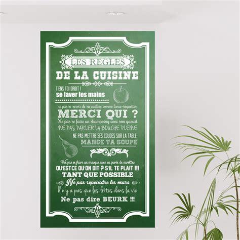 regle cuisine sticker poster les règles de la cuisine style ardoise