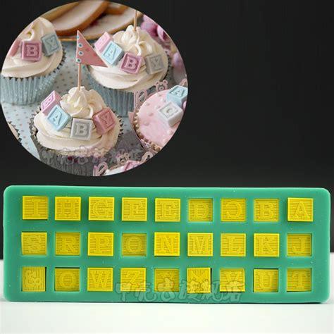 5 letter edible fondant block letters cake cupcake diy bakeware alphabet blocks baby shower silicone mold 13919