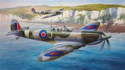 Spitfire Painting Supermarine Fighter Aviation Airplane English