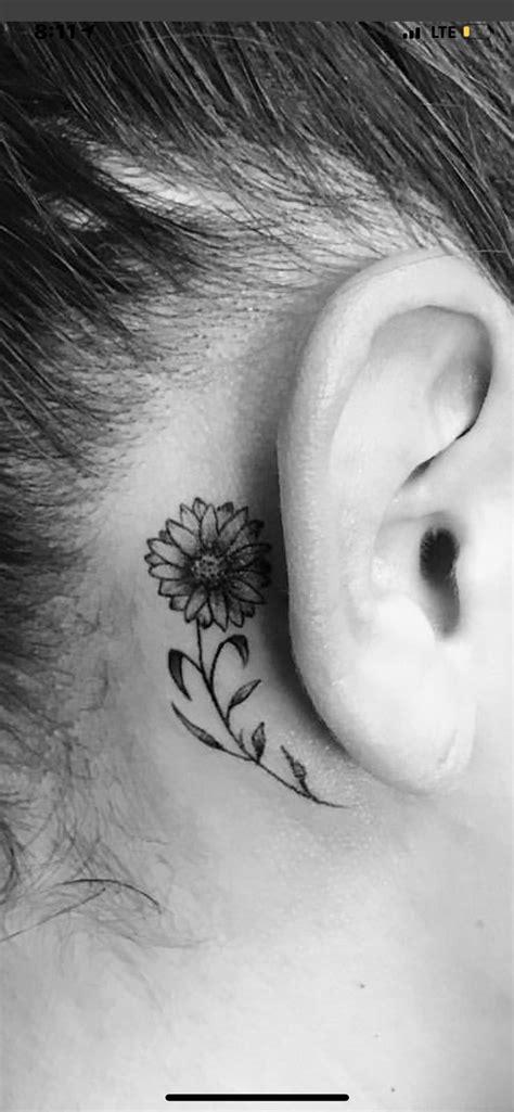 TATTOO IDEAS small fine line sunflower behind ear tattoo black and grey | Behind ear tattoos