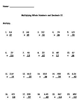 multiplying decimals and whole numbers ii worksheet by