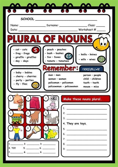 plural  nouns worksheet
