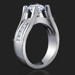 floating engagement ring wide band floating tension mounted for maximum sparkle with invisible channel set