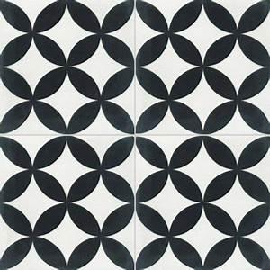 carreau de ciment sol et mur blanc et noir palmette l20 x With carreaux de ciment noir