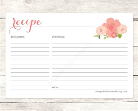 bridal shower recipe cards templates recipe card bridal shower printable diy pink flowers