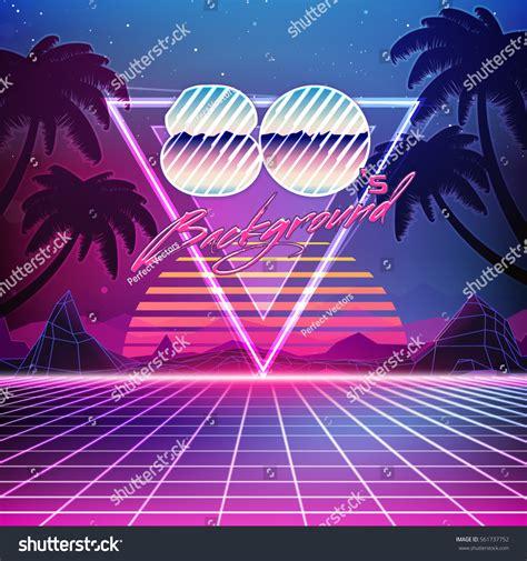 80s Retro Scifi Background Summer Landscape Stock Vector