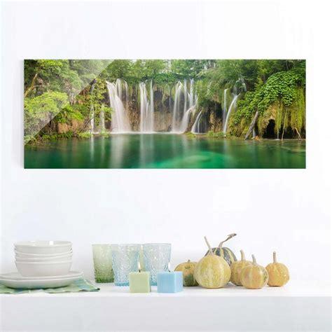 Glasbild Fürs Bad by Bilderwelten Glasbild Panorama Quer 187 Wasserfall Plitvicer