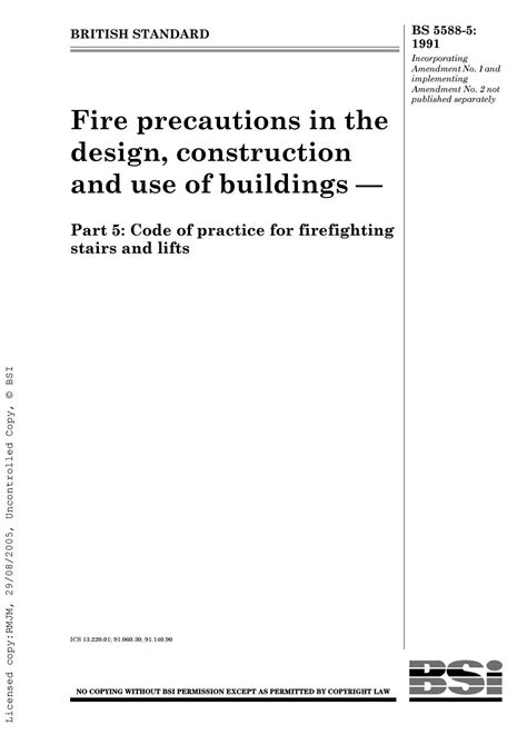 Bs 5588 5 1991 fire precautions in the design and