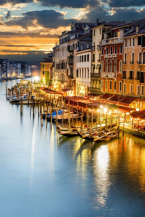 Grand Canal At Night Venezia Italy By Beatrice Preve
