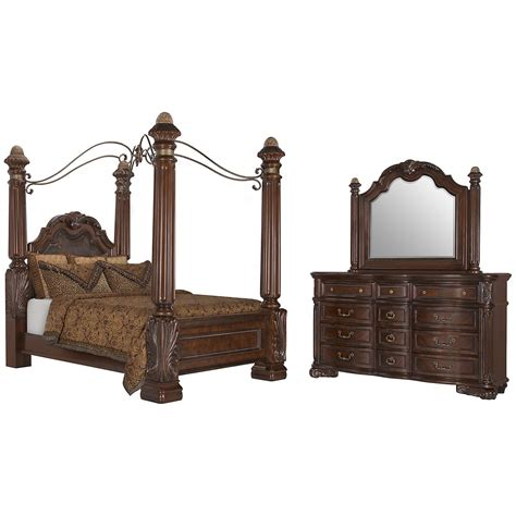 city furniture regal tone leather canopy bed