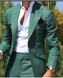 Green Men's Dinner Party Prom Suit Groom Tuxedos Groomsmen ...  Men