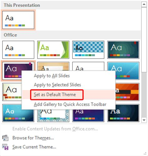powerpoint apply template change the default template or theme in powerpoint 2013