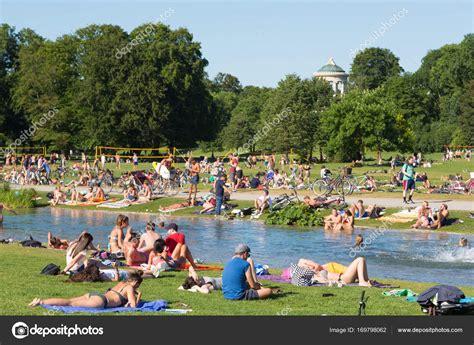 Englischer Garten In Munich by Enjoying The Summer Day In Englischer Garten City